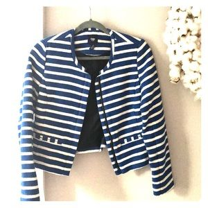 Blue and white stripped blazer jacket